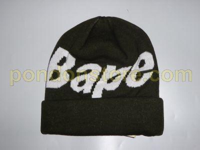 A BATHING APE   bape logo knit cap beanie green  Pondon Store  d335b9581d56