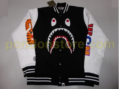 2a5bf1ca A BATHING APE : bape center face shark sweat varsity jacket black ...