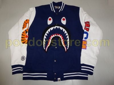 37e2d7bdff31 A BATHING APE   bape center face shark sweat varsity jacket navy ...