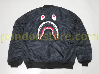 5a03658b3d258 A BATHING APE   bape back face shark MA-1 jacket black  Pondon Store