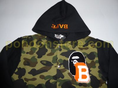 f68a6385 A BATHING APE : bape 1st camo hooded sweat varsity jacket black ...