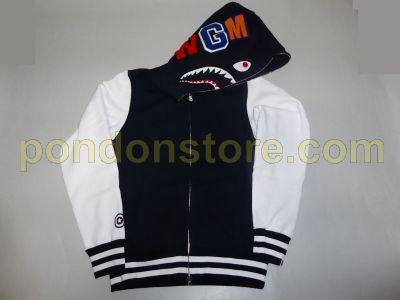 9b515e55b120 A BATHING APE   bape hood face shark sweat varsity jacket navy ...