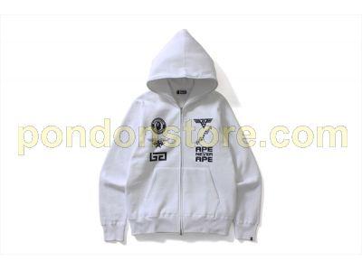 f46273923f5d A BATHING APE   bape multi logo icon zip hoody white  Pondon Store