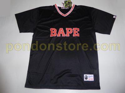 A Bathing Ape Bape V Neck Football Black Tee
