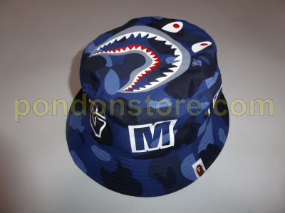 c404409e8540 A BATHING APE   color camo shark bucket hat blue  Pondon Store