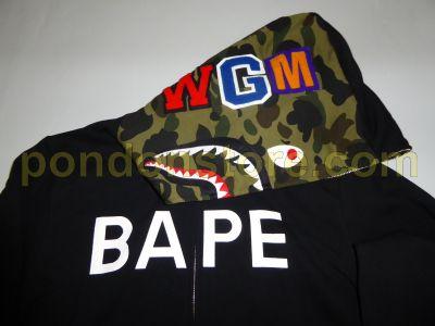 A BATHING APE BAPE Logo Black Green Shark Hoody
