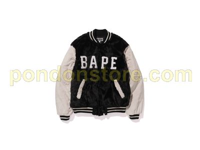 1672621b A BATHING APE : fur bape varsity jacket black [Pondon Store]