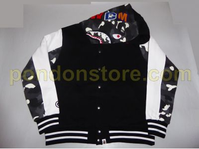 4d833a79 A BATHING APE : city camo shark sweat varsity hood jacket black ...