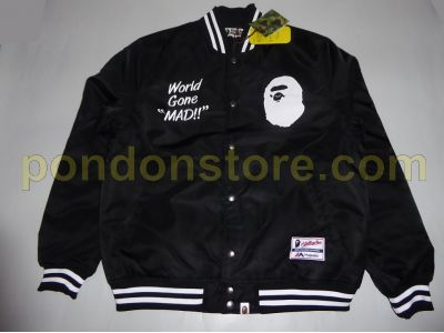 a748ea84 A BATHING APE : majestic satin varsity jacket black [Pondon Store]