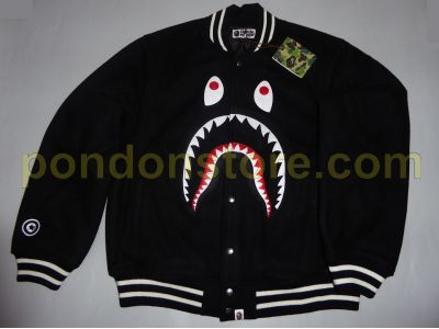 5c2c590c A BATHING APE : shark melton varsity jacket black [Pondon Store]