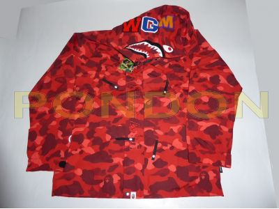 c0bd7137ff26 A BATHING APE   color camo shark snowboard jacket red  Pondon Store