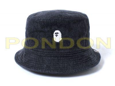 A BATHING APE   ape head embroidery bucket hat black  Pondon Store  8ff8a760ace