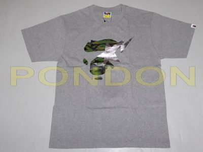 best website 08f0a 5437a A BATHING APE   tiger camo bapesta on face gray green tee