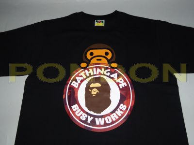 faa73be42bed A BATHING APE   color camo milo on busy works black red tee  Pondon ...