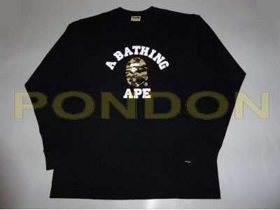 7886a1f9 A BATHING APE : 1st camo college long sleeve black/yellow tee ...