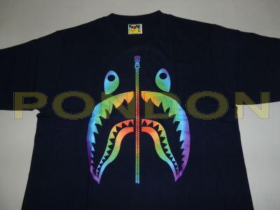 5ccd1175faa36c A BATHING APE : rainbow shark navy tee [Pondon Store]