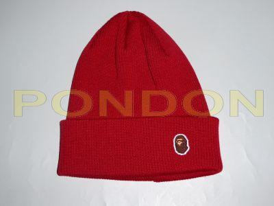 7b51a0c6dc0 A BATHING APE   ape head one point knit cap red  Pondon Store