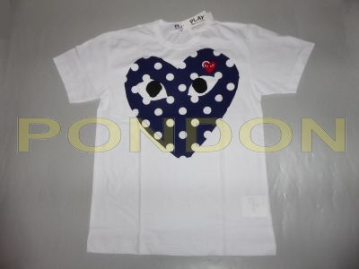 f750da9de25660 COMME des GARCONS   garcons play dot center mix heart white navy red ...