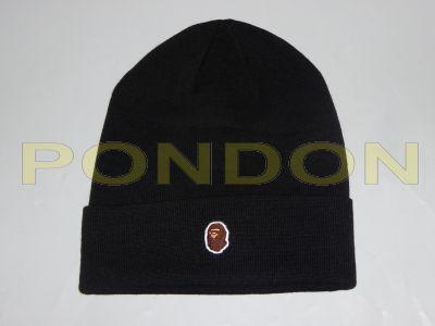 0d41955f95e A BATHING APE   ape head one point knit cap black  Pondon Store