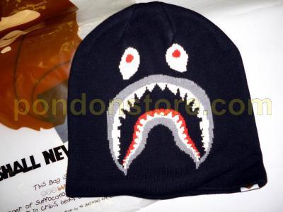 A BATHING APE   bape shark beanie knit cap black  Pondon Store  bc4a97b6174