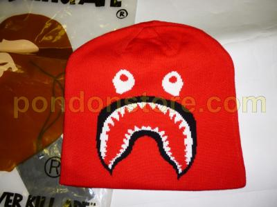 A BATHING APE   bape shark beanie knit cap red aoyama  Pondon Store  45dd9a2564f