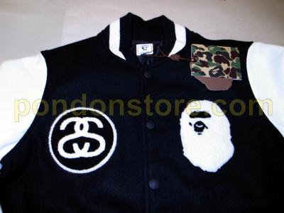 0f11cea4 A BATHING APE : STUSSY x BAPE FITTEST VARSITY JACKET black [Pondon ...