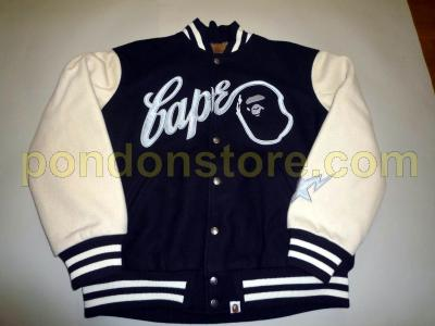 4c811618 A BATHING APE : bape black/beige varsity baseball jacket with fur inside