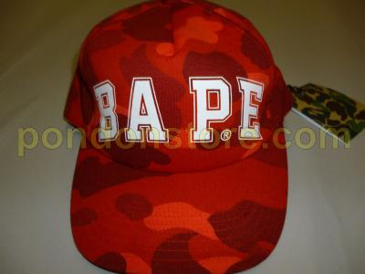 A BATHING APE   bape logo color camo red baseball cap  Pondon Store  adcdfdba2d9