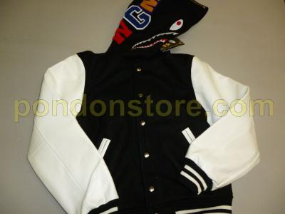 0f88dbba A BATHING APE : bape shark Cow sleeve varsity jacket black/white ...
