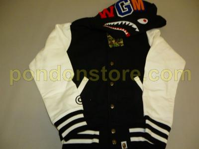 63c5bb61 A BATHING APE : bape shark sweat varsity jacket black [Pondon Store]