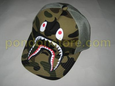 A BATHING APE   bape shark 1st camo green cap truckerhat  Pondon Store  117641dd4