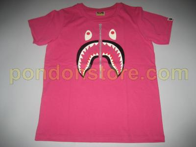 A BATHING APE   bape shark face luminous pink tee women s ladies ... dac3c29558