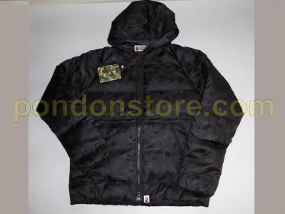 912371bd2a15 A BATHING APE   bape jacquard camo black down jacket sale  Pondon Store