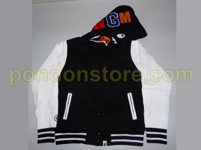 f89d7b09 A BATHING APE : bape shark milo sweat varsity jacket black [Pondon ...
