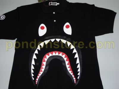 59602d23dc90 A BATHING APE   bape shark polo shirt black  Pondon Store