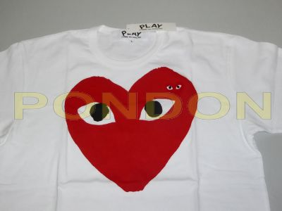 2694b32cc64ec1 COMME des GARCONS   garcons play center mix heart white red tee ...