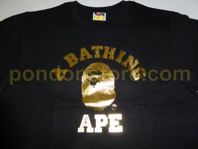 A Bathing Ape Bape College Foil Black Gold Tee Pondon