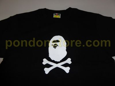 b9bc0053a7ac A BATHING APE   bape cross bone face black tee sale  Pondon Store