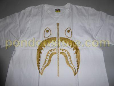47a2f96a2 A BATHING APE : bape glitter shark white/gold tee [Pondon Store]