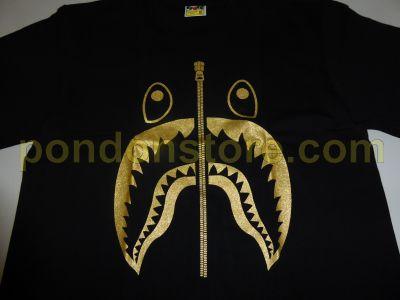 04bf712b6 A BATHING APE : bape glitter shark black/gold tee [Pondon Store]