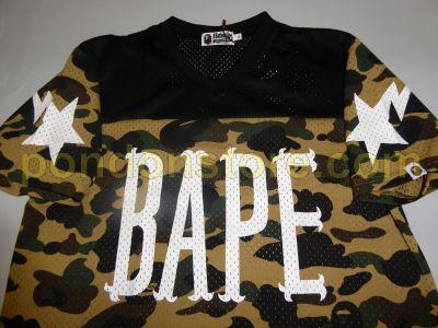 84b55974 A BATHING APE : bape 1st camo mesh football black/yellow tee [Pondon ...