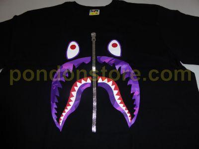 2c83b8e01 A BATHING APE : teeth color camo shark black/purple tee [Pondon Store]