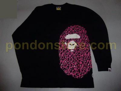 01406a17 A BATHING APE : bape leopard side head black/pink long sleeve tee ...