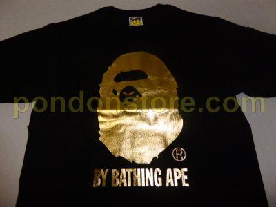 A BATHING APE   bape foil by bathing black gold tee  Pondon Store  116635ea14a4