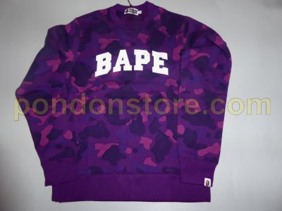 1ff07067 A BATHING APE : bape color camo Jacquard purple crewneck sweater ...