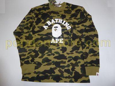 16b18dbe A BATHING APE : bape 1st camo green college long sleeve tee [Pondon ...