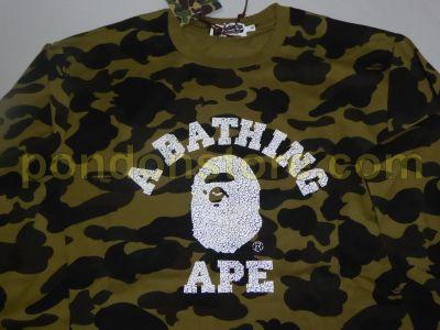 4fc4b828 A BATHING APE : bape 1st camo green college long sleeve tee [Pondon ...
