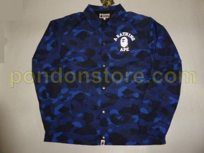 a8b51442c087 A BATHING APE   bape color camo college coach jacket blue  Pondon Store
