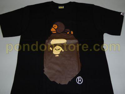 0b5bc22ca41f A BATHING APE   bape milo sleep on head black tee  Pondon Store