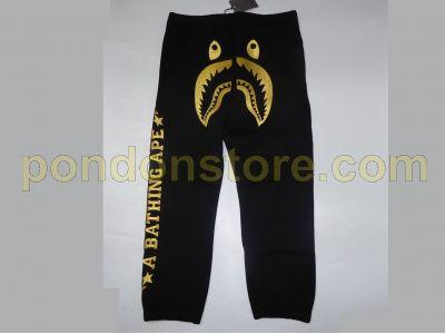 00318cdc7628 A BATHING APE   bape x dover black shark sweat pants  Pondon Store